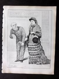 E. C. Mountfort - Dart 1880's Political Cartoon. County Court